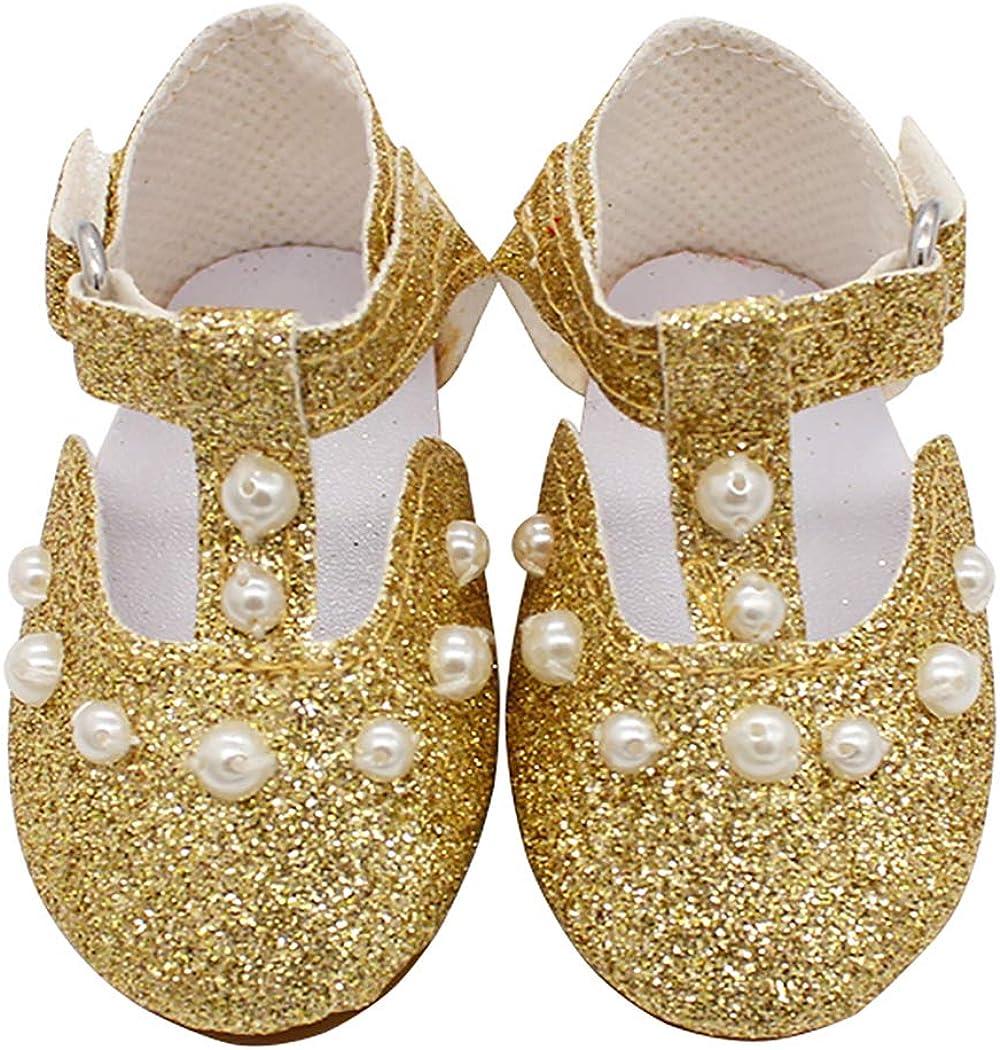 ZOYLINK Zapatos De Muñeca De 18 Pulgadas Rhinestone Decorativo Muñeca Zapatos Planos Accesorios De Muñeca