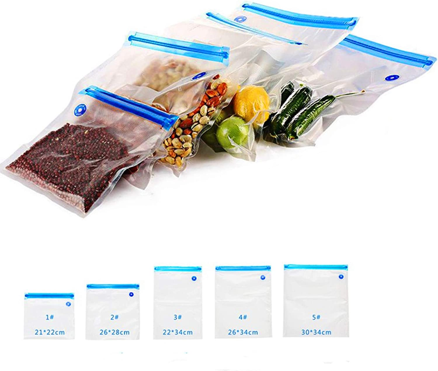 Vacuum Zipper Bags 25PCS, Xaoyaya Vacuum Food Sealer Bags Food Storage Reusable Bags With Double-Layer Zippers Designed Increase The Freshness Time Of Food By Five Times…