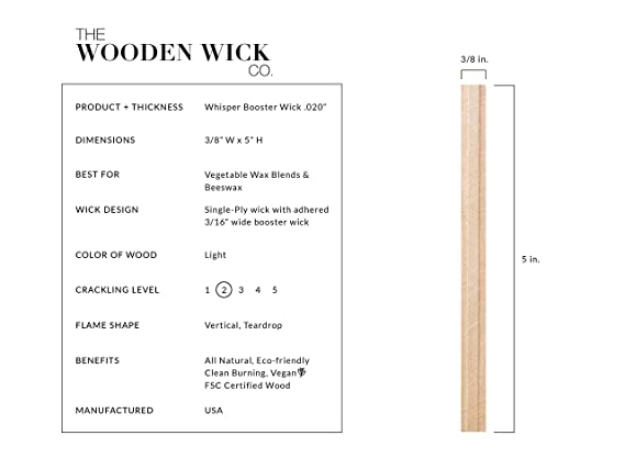 Wood Candle Wicks DDSKY 100PCS Natural Wood Wick with Iron Stand Environmental Friendly Wick for Candle Making and Candle DIY Craft 5.1 X 0.5 Inch