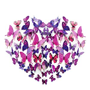 96Pcs 3D Butterfly Wall Stickers Decal, Removable Art Mural Decoration DIY Double Wings Butterflies Decor for Kids Girls Bedroom Living Room Classroom Offices – Multiple Styles (Purple)