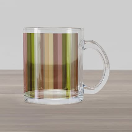 ce9c130ecfa Ambesonne Stripes Glass Mug, Colorful Pattern with Pastel Colored Bands  Vertically Aligned Abstract Illustration,