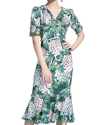 Aofur Women Summer Dresses Vintage Floral Print Cocktail Party Bodycon Pencil Dress Size 8-24