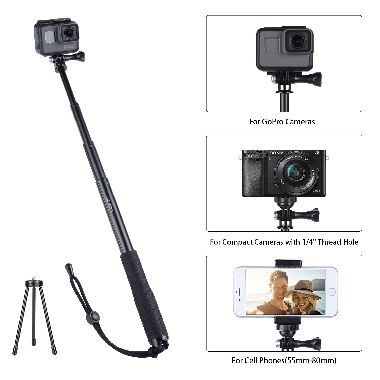 OFF Vicdozia Selfie Stick 37 5 Waterproof Extendable Monopod with Mini Tripod
