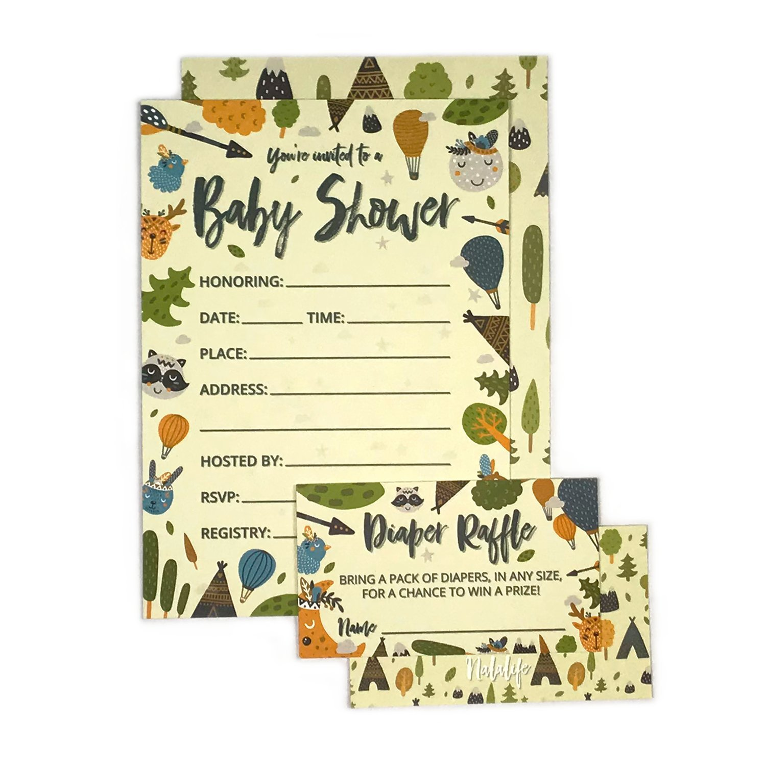 Baby Shower Invitation Cards with Diaper Raffle Tickets for Boy and Girl - Woodland Forest Animals - Set of 25 Party Invites - by Nalalife by Nalalife (Image #2)