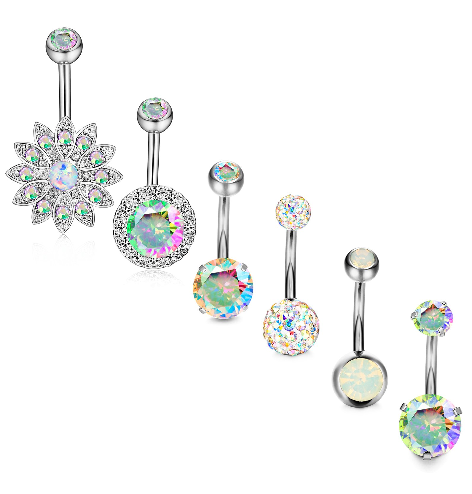 Thunaraz 5-10pcs 14G Stainless Steel Belly Button Rings for Women Crystal CZ Ball Screw Navel Bars (C:6Pcs colorful-tone)