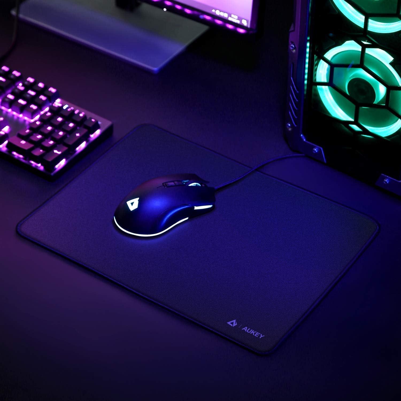 350x250x3mm Mouse Pad Mini Base in Gomma Antiscivolo Tappetino per Mouse da Gioco AUKEY Tappetino Mouse Gaming Resistente allAcqua con Superficie Liscia Bordi Cuciti