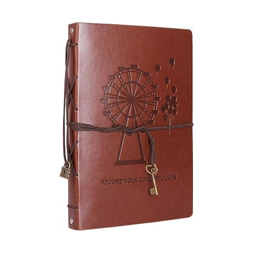 Álbum de Fotos Scrapbook Recargable Cubierta de Cuero 60 Páginas Gruesas Libro de Recuerdos de Bricolaje, para Bodas Aniversario Cumpleaños de Oro ...