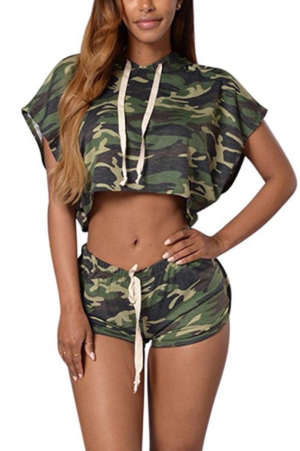 Women's Hot Camouflage Print 2 Pieces Crop Top& Shorts Clubwear Suits CAFZ378