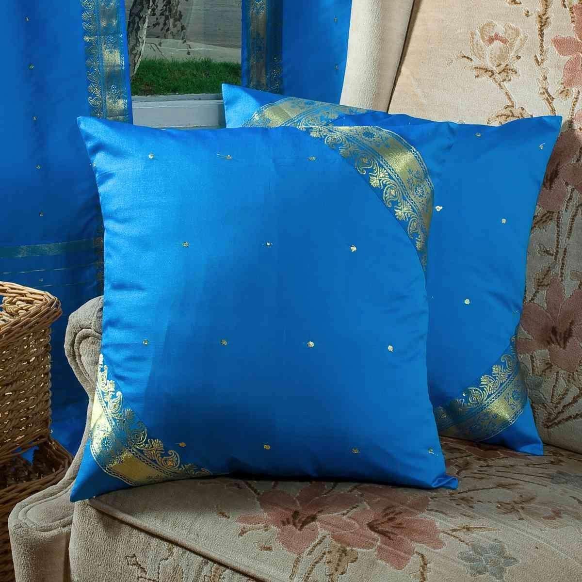 Indian Selections ブルー - 装飾的な手作りクッションカバー スロー枕カバー ユーロシャム 人気ショップが最安値挑戦 今だけ限定15%OFFクーポン発行中 B00CHWON5W inches 6サイズ 22x22 square MBLUCCC2222