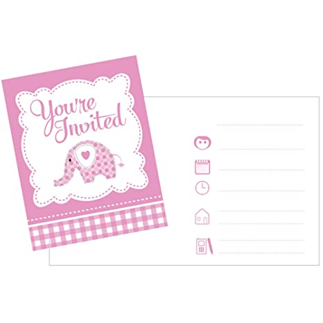 Sweet Baby Elephant Party Invitations - Pink - 8 Invites
