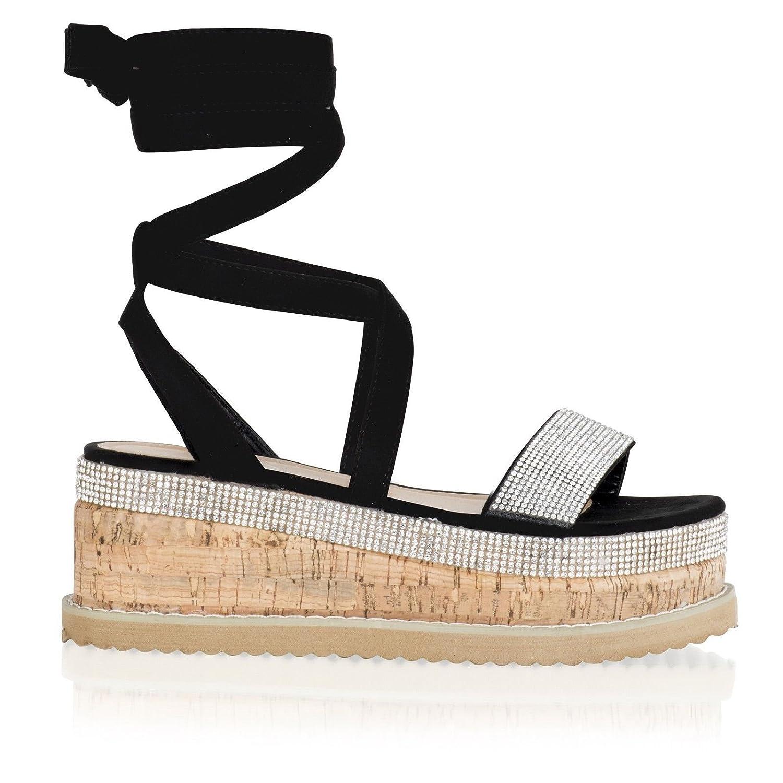 d9814c15b00 Taylor-Unikue Womens Ladies Flat Wedge Diamante Sandals Lace Tie up  Platform Espadrille Shoes