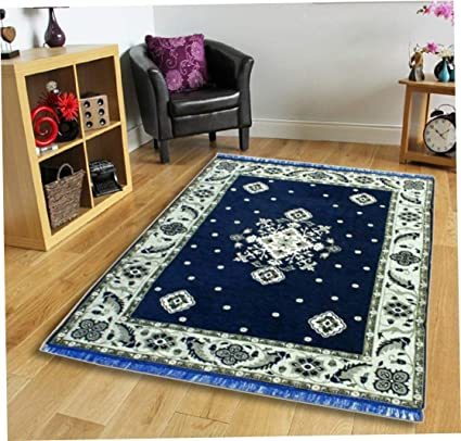 SANSEZZ Zeometric Ethnic Velvet Touch Abstract Chenille Carpet (5Feet X 7Feet) Multi