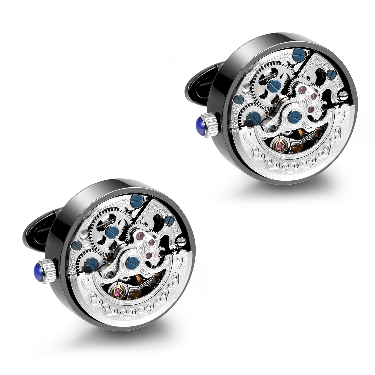 Dich Creat Men's Gunmetal PVD Stainless Steel Silver Automatic Skeleton Working Movement Cufflinks by Dich Creat