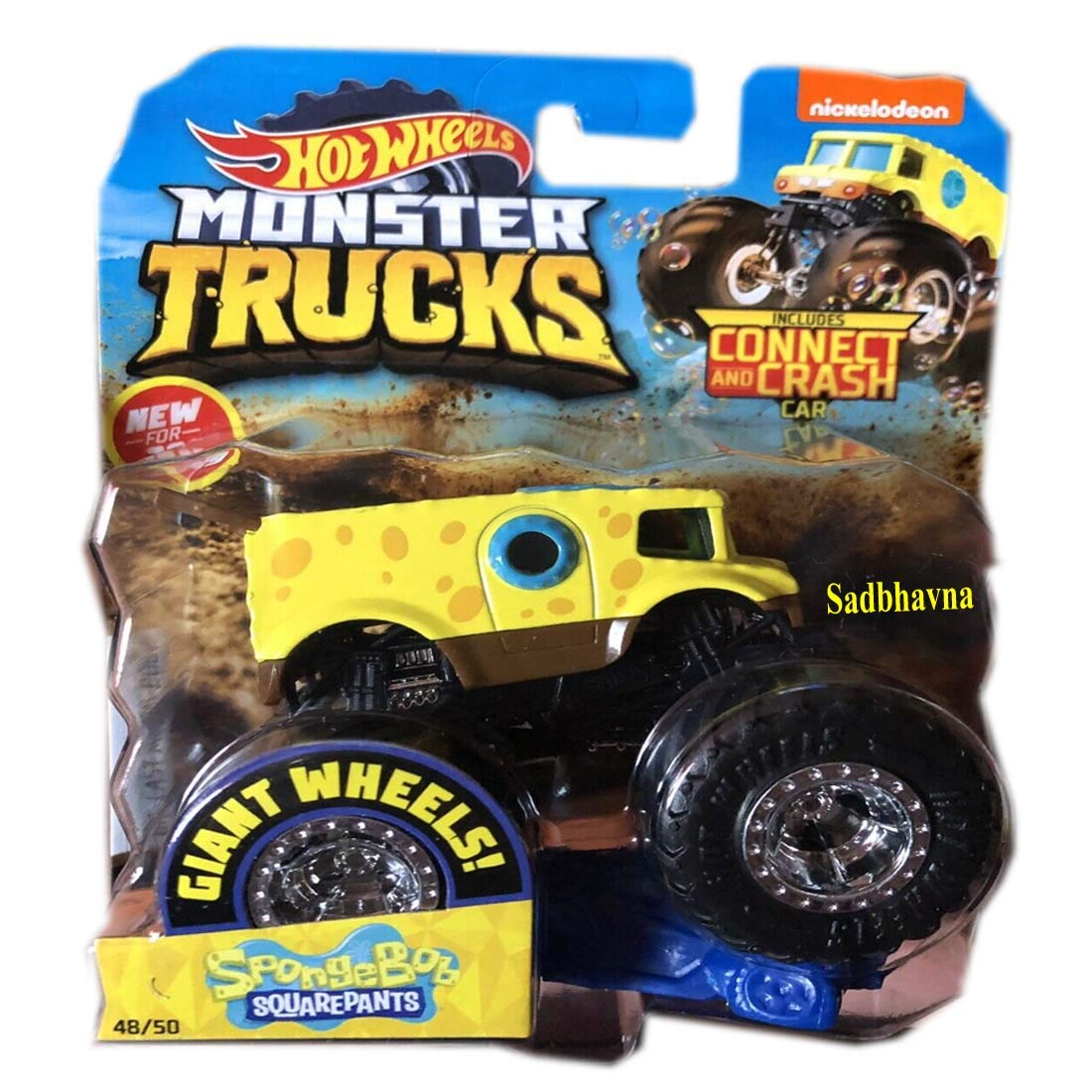 Buy Sadbhavna Hot Wheels Die Cast Metal Body Monster Truck Includes Connect And Crush Car Spongebob Squarepants 48 50 Online At Low Prices In India Amazon In