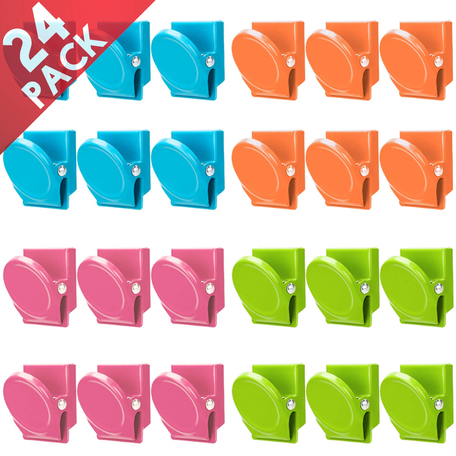 Magnetic Clips, 24 Pieces Magnetic Metal Clips, Refrigerator Whiteboard Wall Fridge Magnetic Memo Note Clips Magnets Metal Clip by VICNOVA