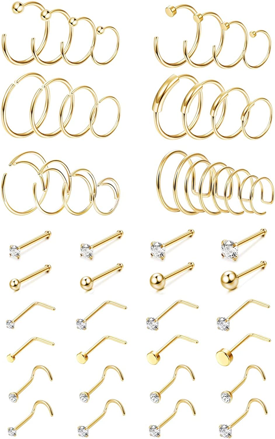 Finrezio 48Pcs 20G Surgical Steel Nose Rings Hoop Studs Cartilage Earrings Body Piercing Jewelry 1.5mm 2mm 2.5mm 3mm Cz Rose Gold Silver Gold Tone 6mm - 12mm Hoops