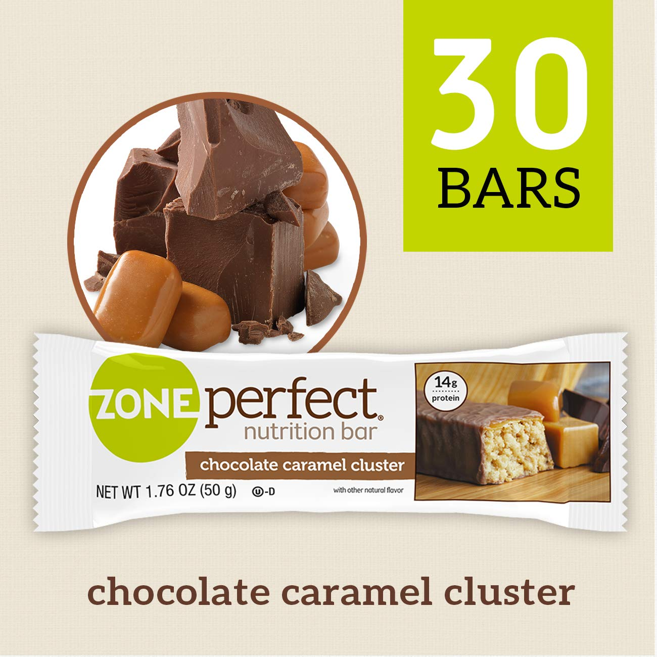 ZonePerfect Nutrition Snack Bars, Chocolate Caramel Cluster, 14g high-quality protein, 1.41 oz, 30 count