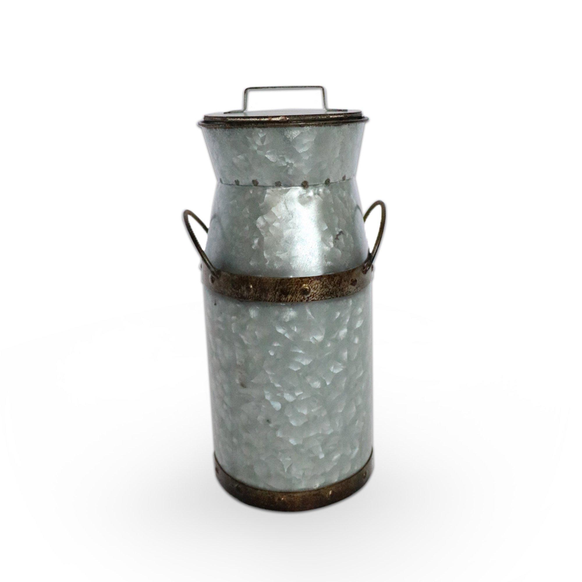 Barnyard Designs Rustic Galvanized Tin Milk Can, Jug | Vintage Rusty Distressed Farmhouse Vase, Country Primitive Home Decor, 11.75'' Height