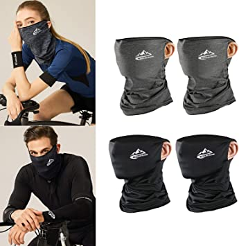 4 Pack Unisex Sun Mask Face Bandana Neck Gaiter Sun Proof Face Mask Balaclava Headwear Outdoors for Men Women