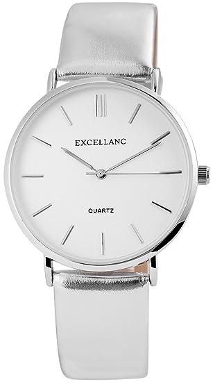 Reloj mujer piel blanco plata analógico de cuarzo reloj de pulsera: Amazon.es: Relojes