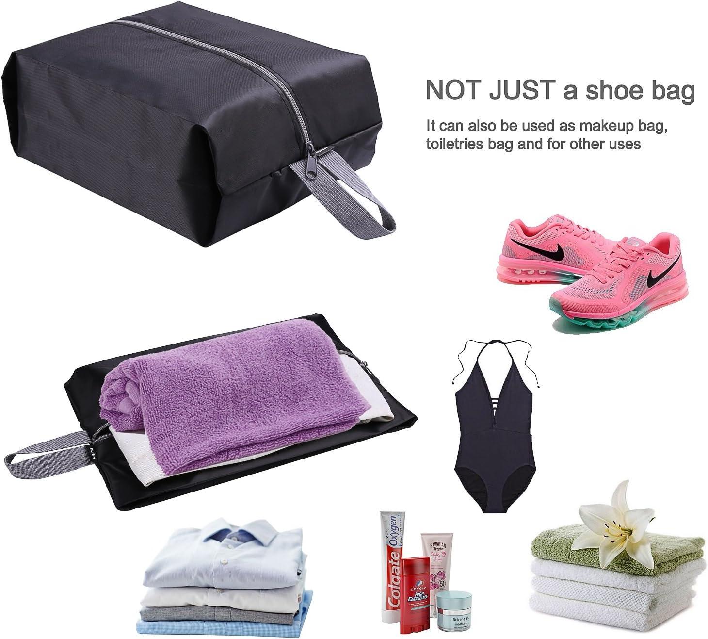 YAMIU Travel Shoe Bags Set of 4 Waterproof Nylon with Zipper for Men & Women, Black: Sports & Outdoors