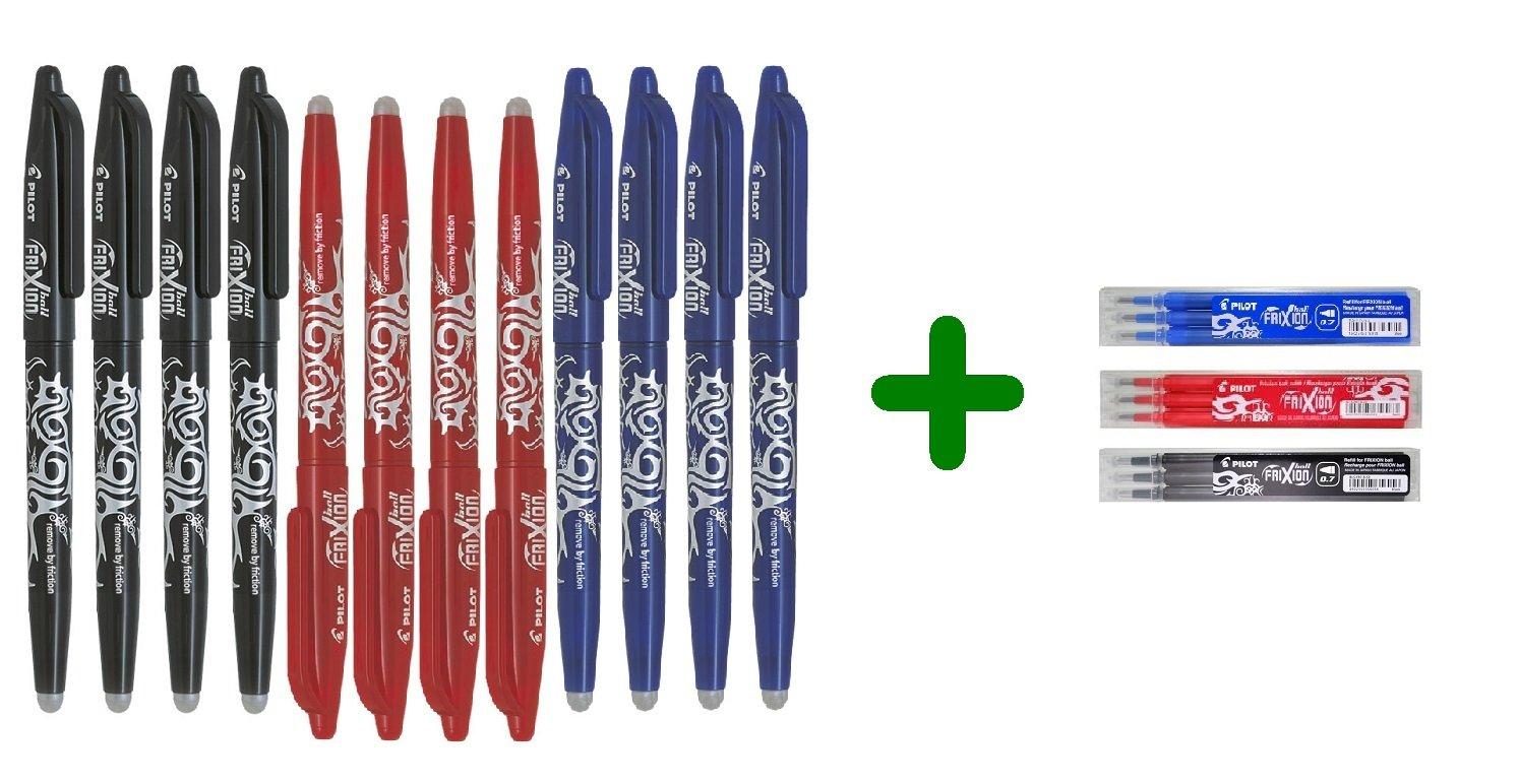 Pilot Frixion Ball 0.7mm - Set di penne a sfera cancellabili (4 blu, 4 rosse, 4 nere) + Set di refill conf. da 3 (1 blu, 1 rosso, 1 nero)