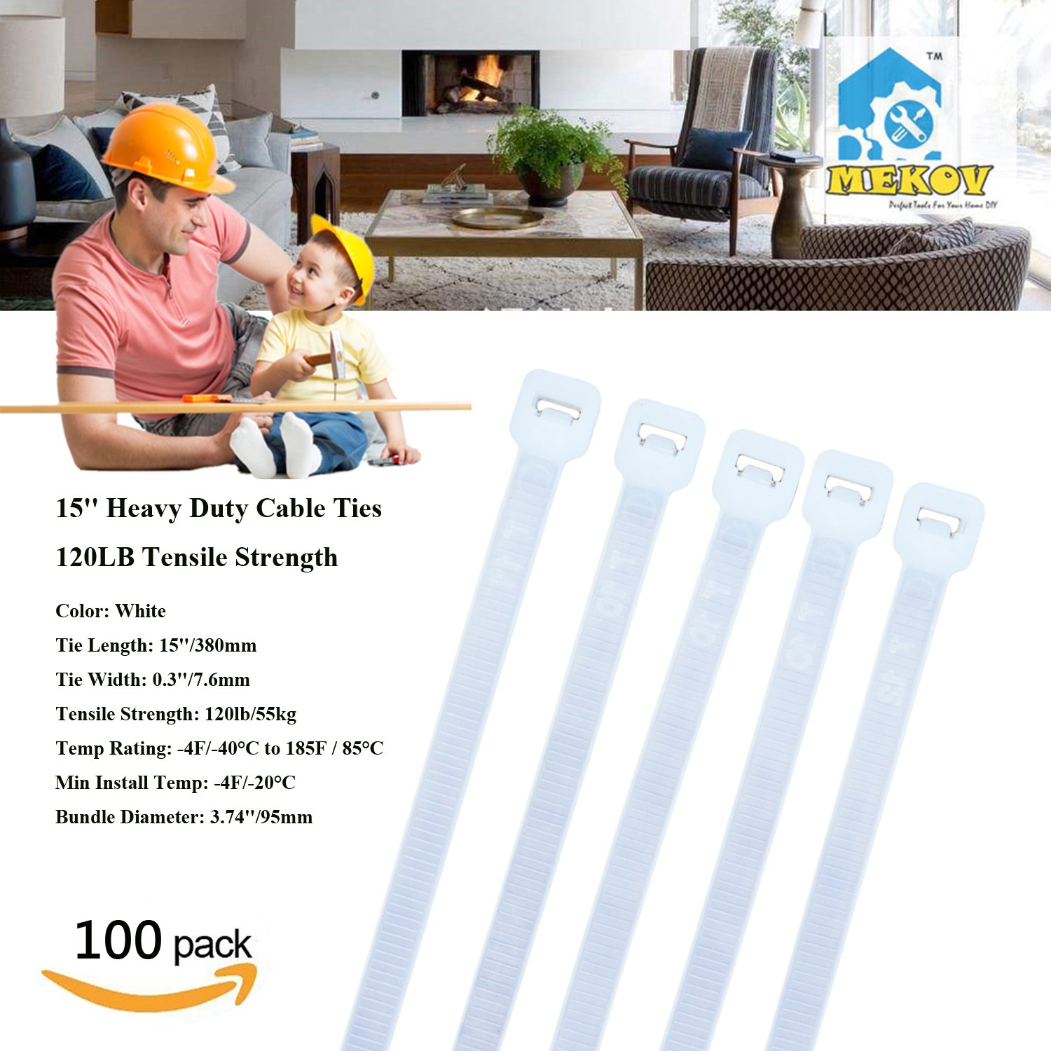 Nylon Cable Ties, Mekov, 15 Inch Heavy Duty Cable Ties, 120-LB Tensile Strength, Zip Ties with 0.3 Inch Width, Durable, Indoor & Outdoor use, UV Resistant (15'', 100 Pack, White)