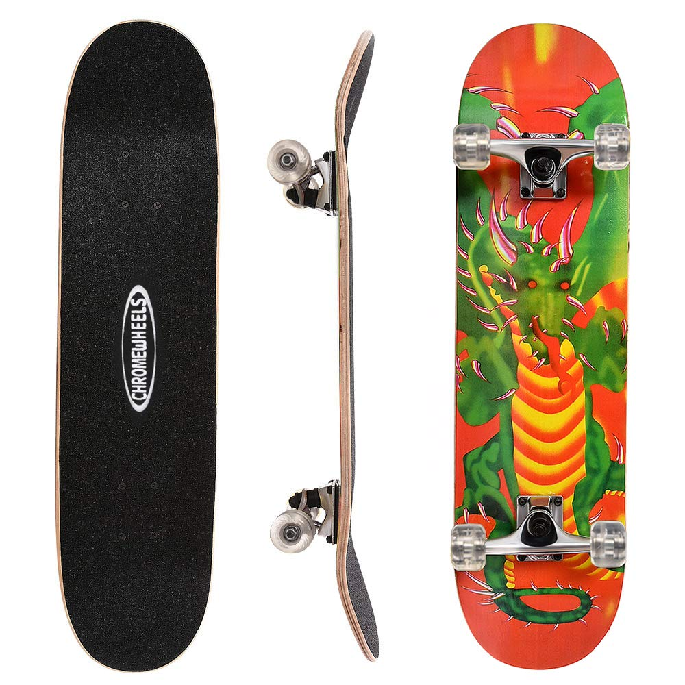 ChromeWheels 31 inch Skateboard Complete Longboard Double Kick Skate Board Cruiser 8 Layer Maple Deck for Extreme Sports and Outdoors, Green by ChromeWheels