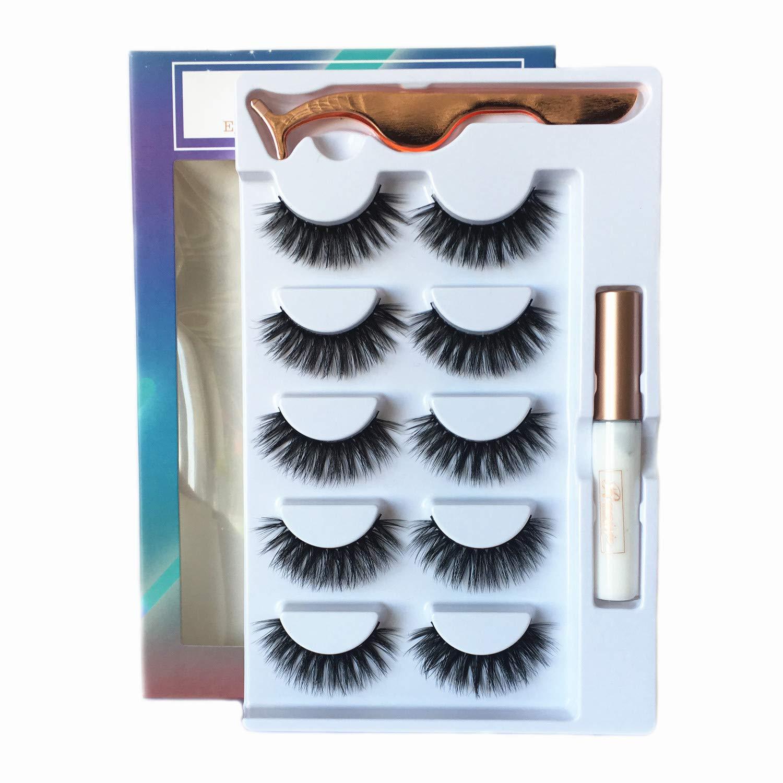 3D Fake Eyelashes With Glue Thick Full Eyelashes 5 Pairs Reusable Cruelty-Free False Eyelashes