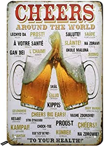 Swono Cheers Beer Tin Signs,Two Cup of Beer with Letter Around The World Beer to Your Health Vintage Metal Tin Sign for Men Women,Wall Decor for Bars,Restaurants,Cafes Pubs,12x8 Inch
