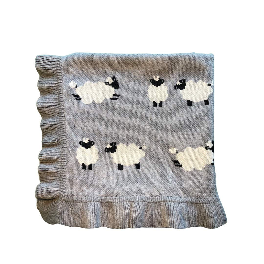 Linen Perch Luxury Sheep Baby Nursery Blanket - Newborn for Boy or Girl in Deluxe Gift Box - Warm Cotton Baby or Toddler Blanket - 40 inches x 32 inches by Linen Perch