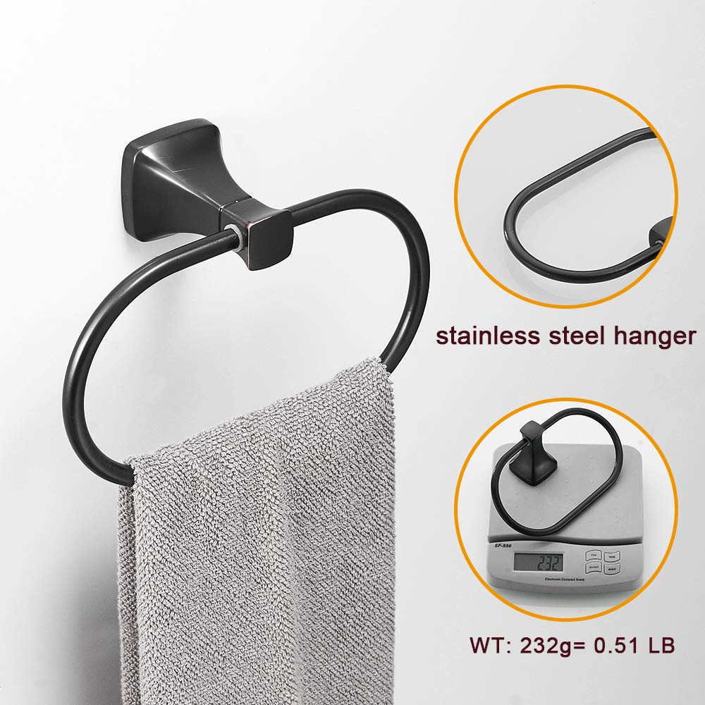 Square Pedestal BESy Bathroom Hardware Accessory Hand Towel Ring,Oil Rubbed Bronze Stainless Steel Hand Towel Holder Wall Mounted with Screws