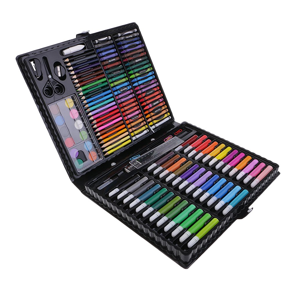 Homyl 150 Pieces Professional Art Set Art Supplies for Drawing, Painting, Coloring in a Plastic Case, Wax Crayons, Oil Pastels, Colored Pencils, Water color marker, Painting Brush, Watercolour pans and more Great Gift for Children and Adults