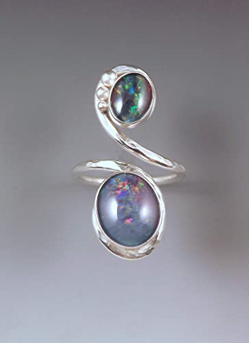 5c57e7caedbdb Amazon.com: Black Opal Ring- Hammered Sterling Silver Swirl Ring ...