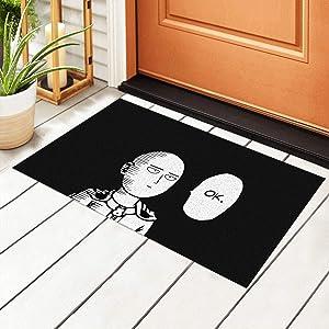 Yuange Anime One Punch Man Door Mat Outdoor Rug Non Slip PVC Doormat Front Indoor Outdoor Doormats PVC Backing/Bathroom/Kitchen/Bedroom/Entryway Floor Mats Carpet 23.6x15.7 Inch