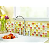 【 Dream Sticker 】モザイクタイルシール キッチン 洗面所 トイレの模様替えに最適のDIY 壁紙デコレーション ALT-6 クラックオレンジ Crack orange 【 自作アートインテリア / ウォールステッカー 】貼り方説明書付属