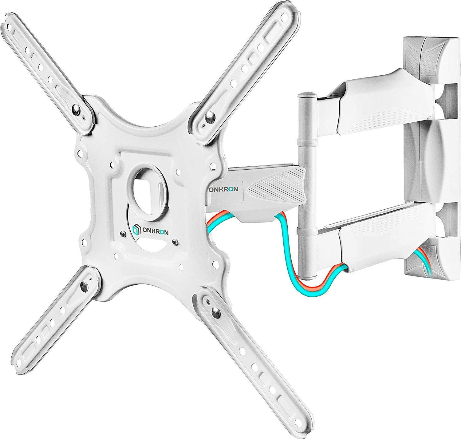 """ONKRON TV Wall Mount Full Motion Arm Bracket for 32"""" to 55-inch LCD LED Flat Screens up to 77 lbs Extendable Adjustable Swivel VESA up to 400 x 400 mm M4 White"""