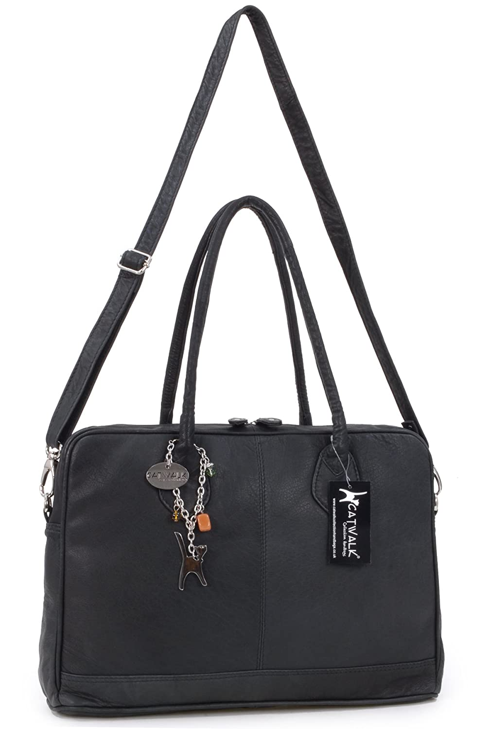 Catwalk Collection A4 Leather Work Bag - Grosvenor - Black  Amazon.co.uk   Shoes   Bags afb1e4724ddb7