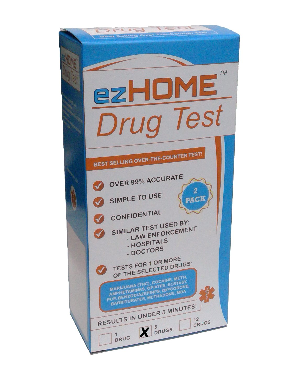 ezHOME Instant Drug Test - THC, COC, MET, AMP, OPI - Pack of 2