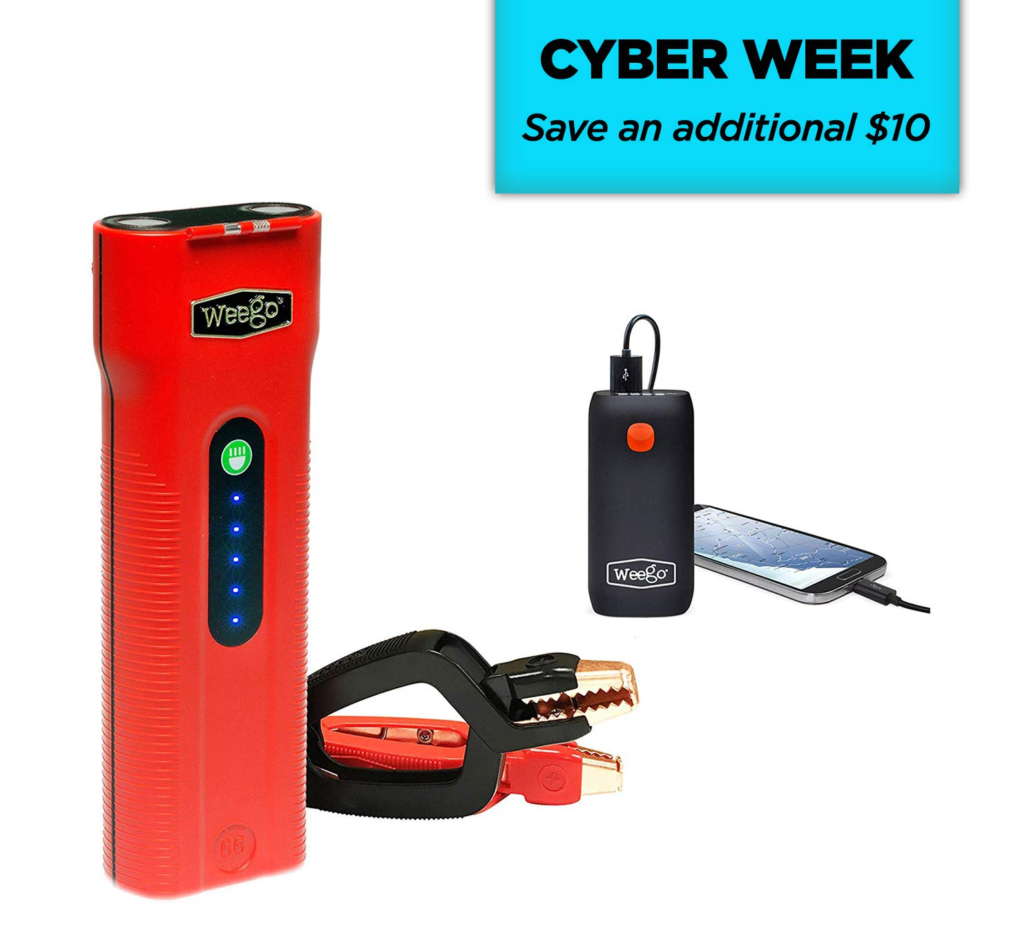 WEEGO 66.1 Jump Starting Power Pack (NEW 2019 Model) 2500 Peak 600 Cranking Amps High Performance Lithium Ion Jump Starter Quick Charges Phones 600 Lumen LED Flashlight Water Resistant by Weego (Image #1)