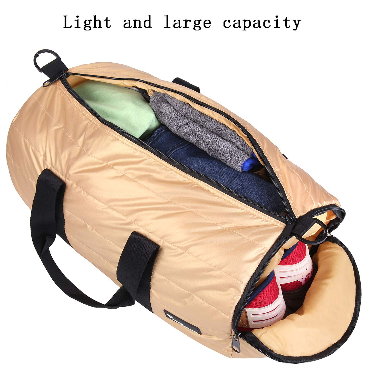 Voova Fitness Sports Gym Bag, Small Foldable Travel Duffel Bag Packable Workout Bags for Men Women with Shoes Compartment, Lightweight Rolling Yoga Overnight Tote Bag Pack