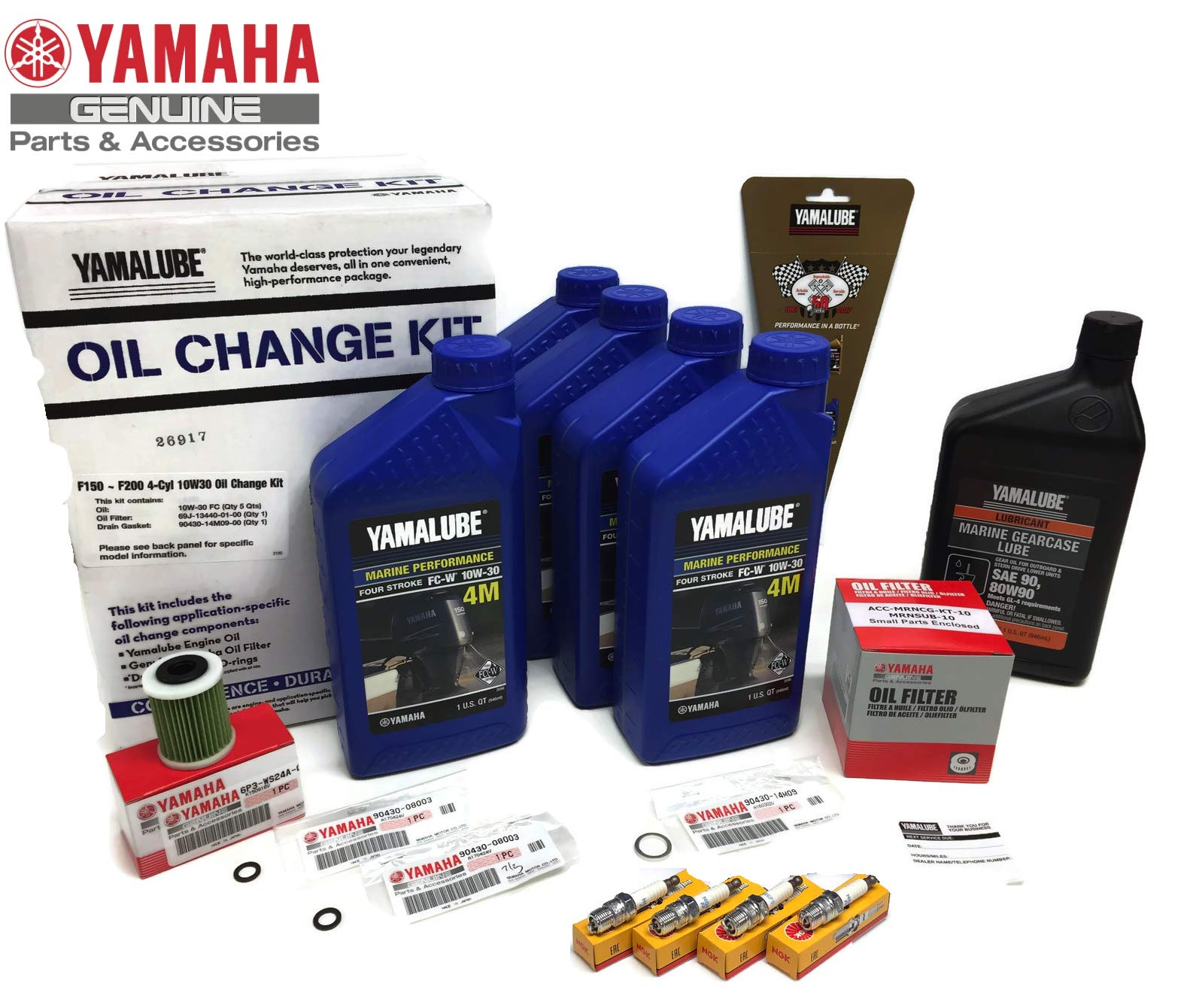 YAMAHA 2006+ F150 F150B Outboard Oil Change 10W30 FC 4M Lower Unit Gear Lube Drain Fill Gaskets NGK Spark Plugs LFR5A-11 Primary Fuel Filter Maintenance Kit by PWC Parts Co (Image #1)