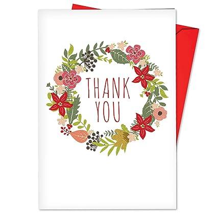 Amazon Com 12 Boxed Watercolor Wreaths Thank You Blank Christmas