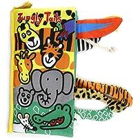 Libro de tela de bebé, libro de tela educativo de Kid Kids Tail para niños de aprendizaje de inglés para niños y niñas Actividad de tocar y sentir(animal salvaje)