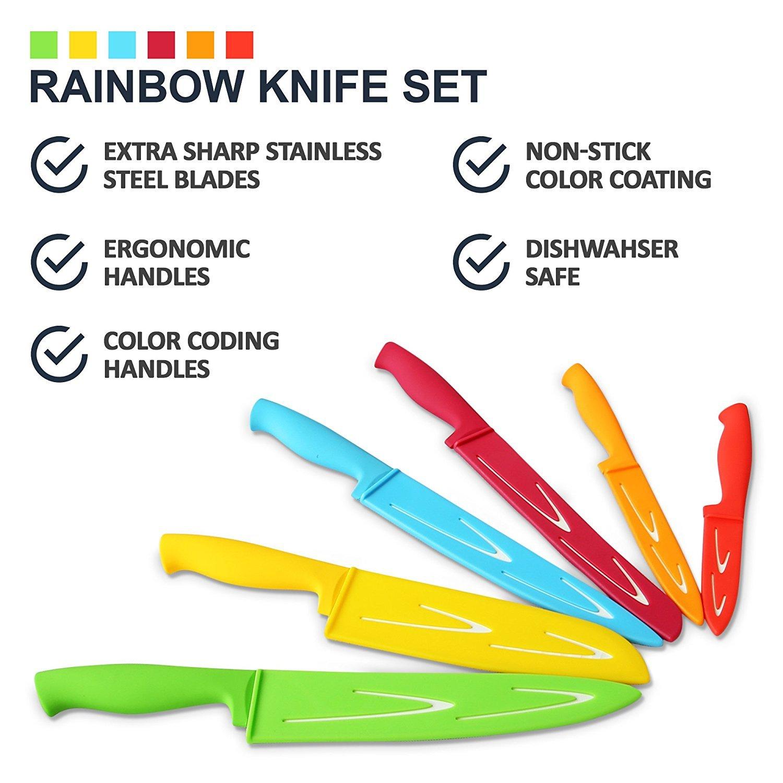Set de cuchillos de acero de colores de 12 piezas - 6 cuchillos de cocina de acero con 6 fundas – set de cuchillos chef con panero, puntilla, santoku, ...