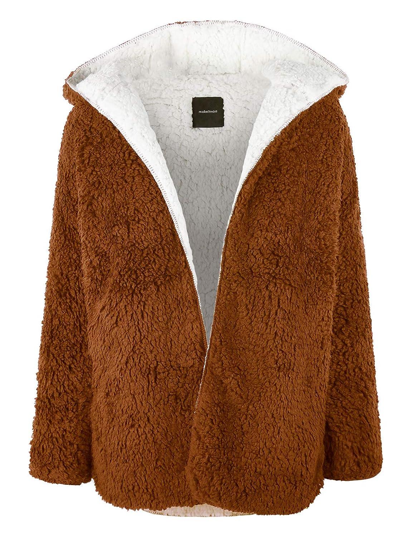 [Yjh0042]camel makeitmint Women's Reversible Fluffy Soft Faux Fur Hoodie Open Front Jacket