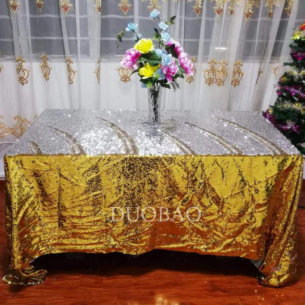 DUOBAO Sequin Tablecloth 60x84-Inch Gold Mermaid Sequin Fabric Gold to Silver Glitter Tablecloth Reversible tablecloths for Rectangle Tables~0516 by DUOBAO (Image #1)