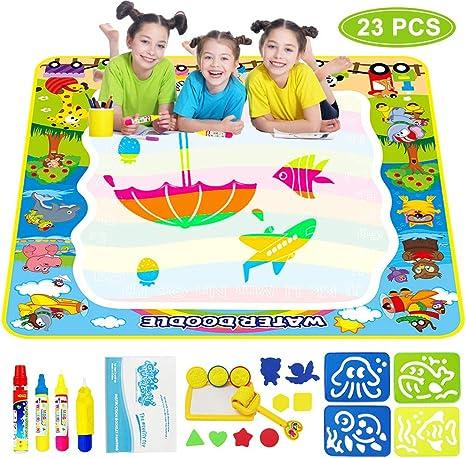 Grand Tapis De Dessin à L Eau 100 X 100 Cm Pour Enfants De 1 à 2 3 4 à 5 Ans Pour Coloriage Et écriture Amazon Ca Jeux Et Jouets