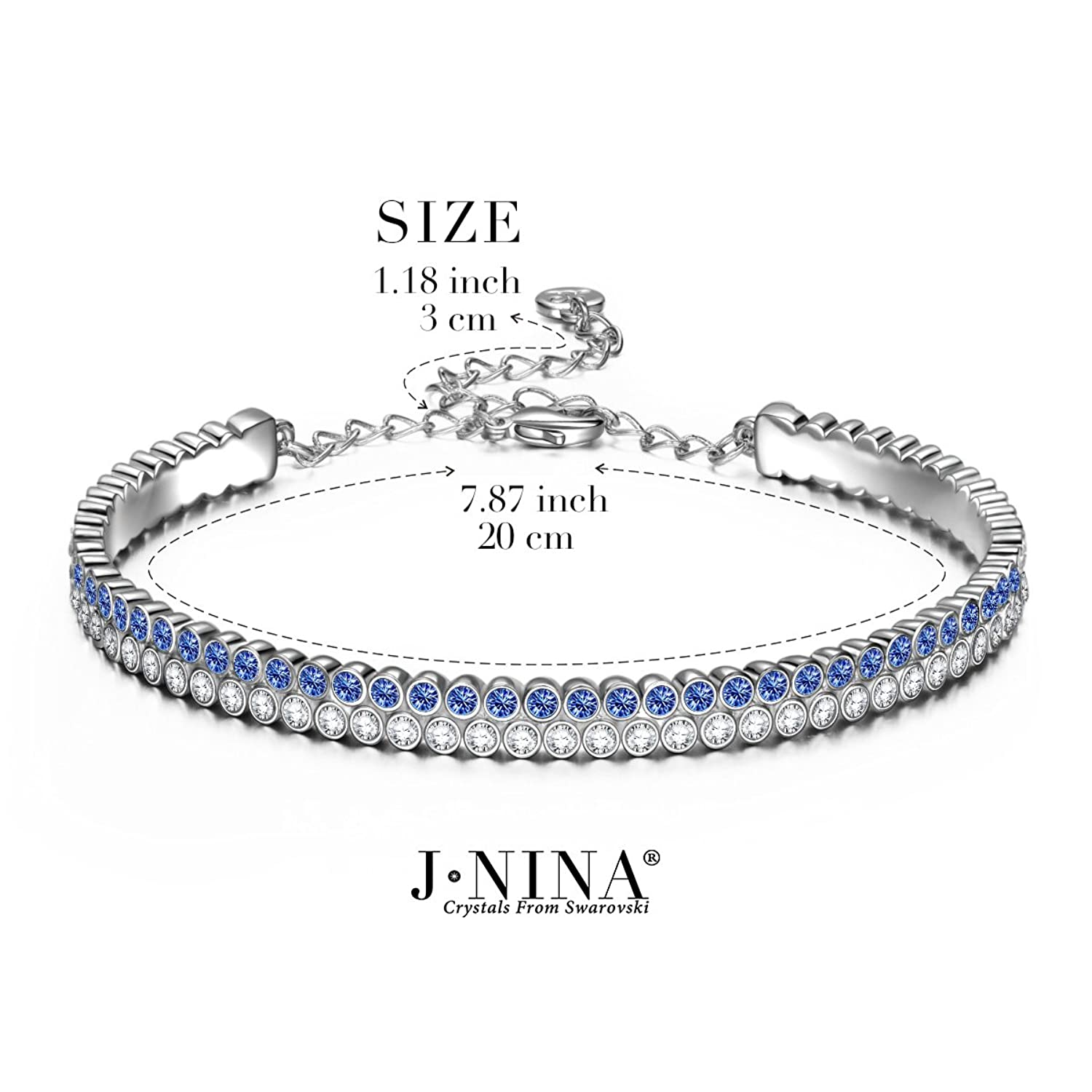 Amazon.com: J.NINA Bracelet for women Galaxy Sapphire Tennis Bangle with Swarovski  Crystal Jewelry. Gift for Wife Girlfriend on Anniversary Mothers Day ...