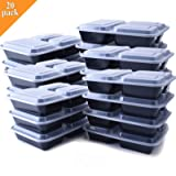 Portion Control Containers, 20-Pack 3 Compartment Meal Prep Containers with Lids - Stackable, Reusable, Leak Resistant, Microwaveable & Dishwasher Safe, BPA-Free Food Storage Containers (36oz)